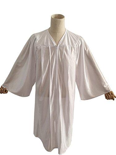 Leishungao Unisex Adults Economy Choir Robe Shiny Finish for Baptisms White Height 5'6''-5'8'']()
