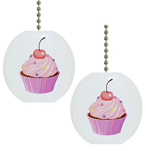 Set of 2 Cupcake with Cherry Solid Ceramic Fan Pulls by Carolina Hardware and Decor
