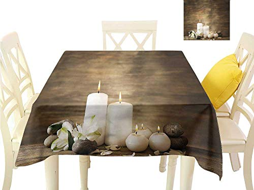 (WilliamsDecor Fabric Tablecloth Spa,Wooden Stones Flower Petal Picnic Cloth W 36