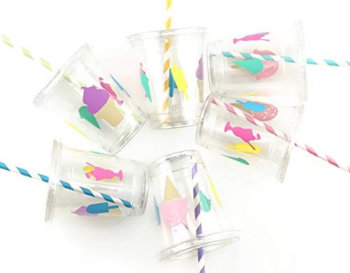 Ice Cream Birthday Party Cups 12 oz Disposable Plastic Lids Straws (12 Count)