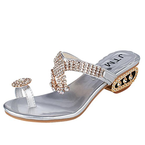 - AOJIAN Women Summer Sandals Flip Flop Fashion Rhinestone Wedges Shoes Crystal High Heels Shoes (5.5, Silver)