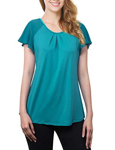 Timeson Tunics for Women, Women's Business Casual Shirt Swing Summer Knit Tops Short Sleeve Long Shirt Leggings Plus Size Peasant Tops Office Work Wear Deep Cyan Large