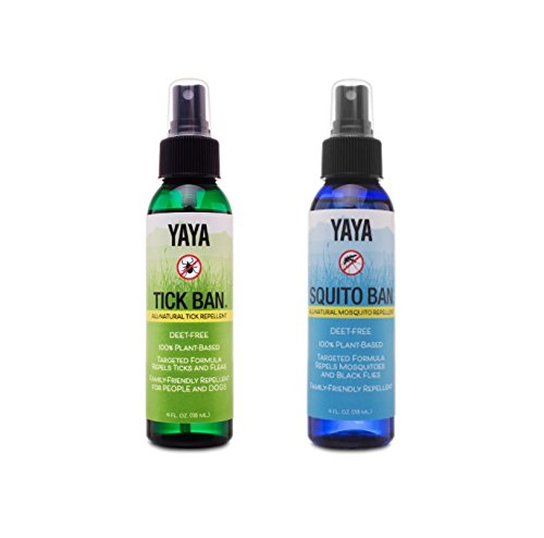 YAYA Organics Tick Ban + Squito Ban Duo Pack | All Natural Tick Repellent and Mosquito Spray Made with Essential Oils, Deet-Free | 2 4oz Spray Bottles