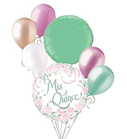 Image Unavailable Not Available For Color 7pc Mis Quince Pink Flowers Happy Birthday Balloon
