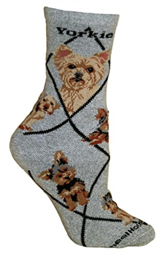 Yorkshire Terrier Puppy Dog Gray Cotton Womens Socks ()