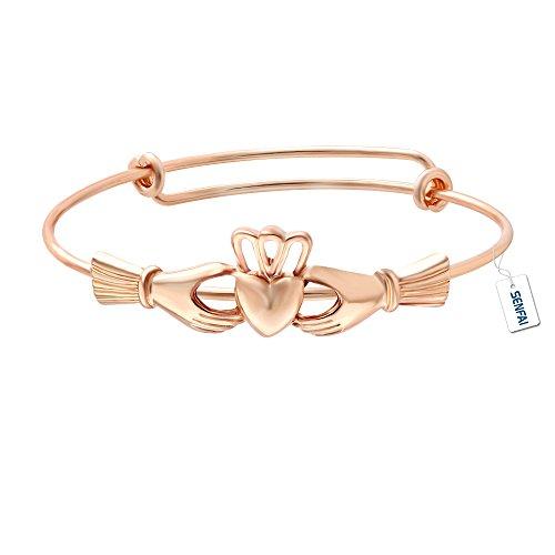 SENFAI The Claddagh Adjustable Copper Female Bracelet & Bangle (rose gold)