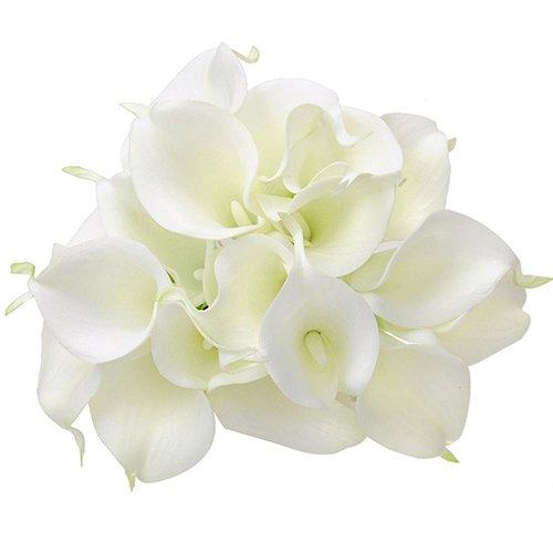 litymitzromq Artificial Flowers Fake Plants, 20 Pcs Artificial Latex Calla Lily Flower Beautiful Bouquet Home Wedding Bridal Decor Faux Fake Flowers Floral Arrangement