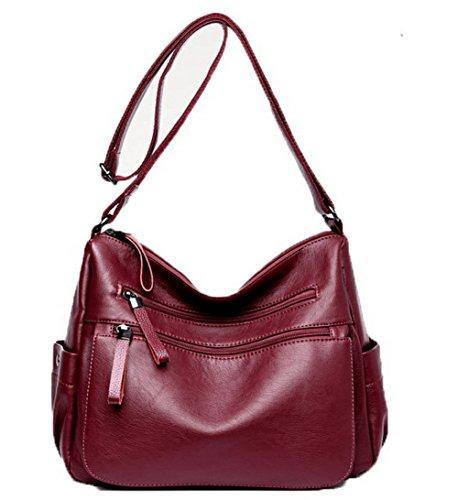 Des bandoulière AgooLar Rouge Vineux Sacs Cuir Achats Femme sacs Pu Zippers à GMBBB180926 4FwazF5x