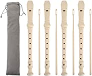 4 Pack 8 Hole Descant Soprano Recorder with Storage Bag - Ivory White