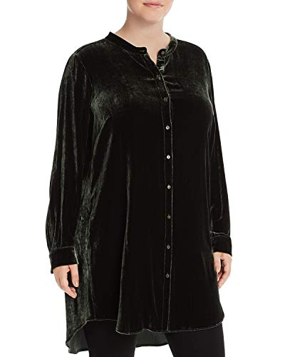 Eileen Fisher Women's Plus Velvet Button Down Tunic (Green, 2X)