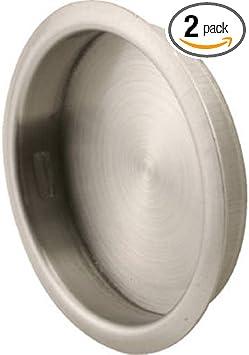 Slide Co 163918 Satin Nickel N 7203 Round Sliding Pull 2pk Stamped Steel Finish Fits 1 3 4 Diameter Bi Pass Closet Door Finger Holes Universal Design Easy To Install Hardware Included Door Hardware Amazon Com