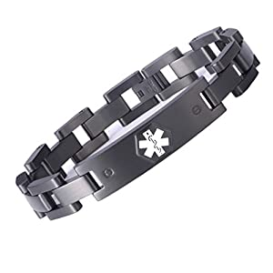 Tarring The Military Style Medical id Bracelet Jewelry for Men and Women(Free Custom Engraved)