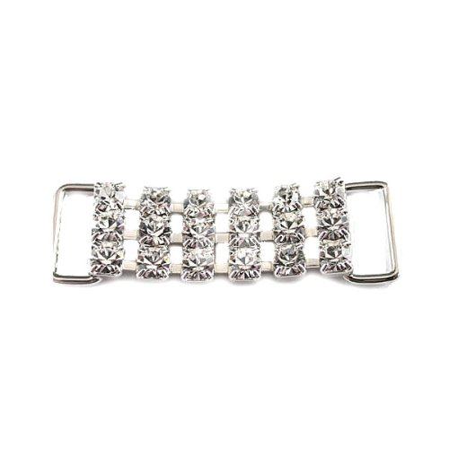 Mode Beads 3-Row Chain Rhinestone Connector, 1-7/8-Inch, Crystal/Silver