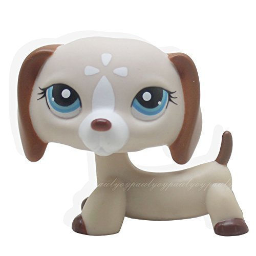 tongrou #1491 Rare Littlest Pet Shop Tan Cream Dachshund Dog Blue Eyes animal LPS Toy