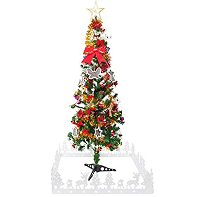 handrong 4.7 Foot Artificial Christmas Tree Pencil Slim Xmas Spruce for Indoor Outdoor Holiday Decorations, with 1pcs Stand, Decorative Fence, 79pcs Hanging Ornaments