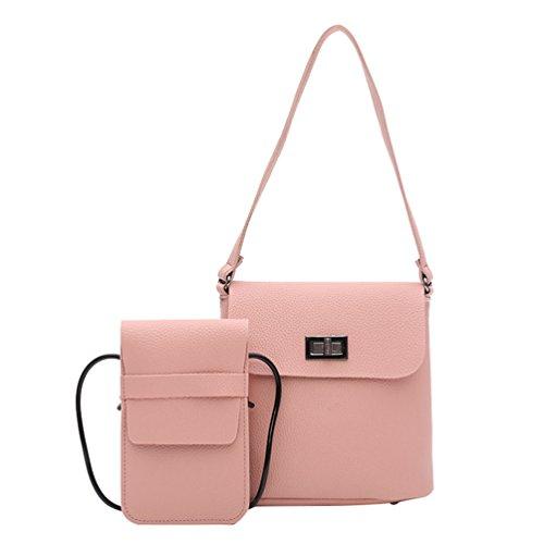 Main Sac en d'Épaule PU 1 Cuir Set 2Pcs Classique Anguang Messenger Sac Sac Bandoulière à Femmes Pink O4pIwt
