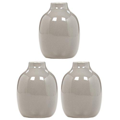 Hosley Set of 3 Taupe Ceramic Vases - 5.12