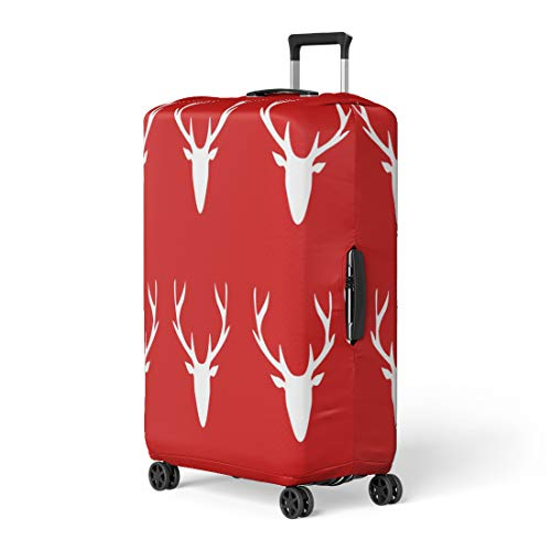 99ed6a1d0050 Pinbeam Luggage Cover Abstract White Deer Head Silhouette on Red Animal  Travel Suitcase Cover Protector Baggage Case Fits 26-28 inches