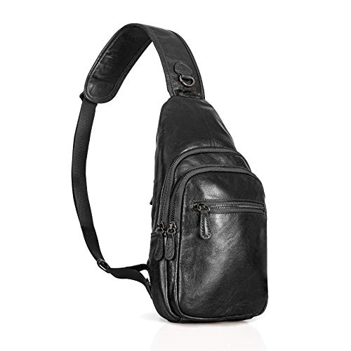 - Genuine Leather Sling Bag for Men and Women   Spacious Shoulder Bag, Crossbody Casual Daypack for Hiking, Travel, Everyday Use   Black