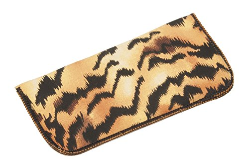 Tiger Print Soft Fabric Eyeglass Case for Women, Fits Small To Medium - Glasses Tiger Frames