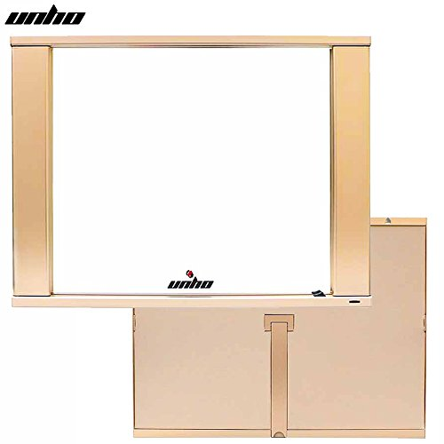 UNHO Aluminum Lighted Makeup Mirror LED 18'' x 14'' Large Desk Top Wall Mounted Mirror Gold by UNHO