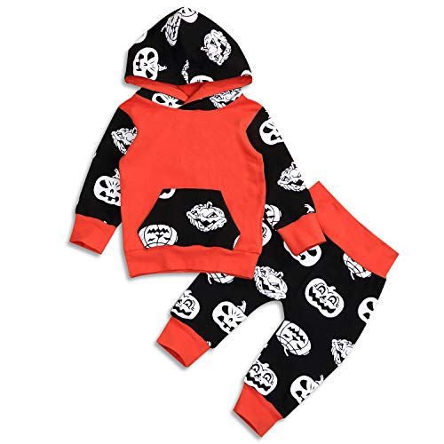 Toddler Boy Devil Halloween Costume (Baby Boys Girls Halloween Outfit Pumpkin Devil Hoodies Pocket Tops Sweatsuit Pants Clothes Set (Orange, 18-24)