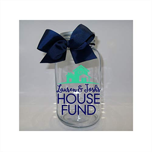 (Personalized House Fund Mason Jar Bank - Coin Slot Lid - Available in 3 Sizes)