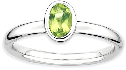 Oval Gemstone Stackable Ring - ICE CARATS 925 Sterling Silver Oval Green Peridot Band Ring Size 6.00 Stone Stackable Gemstone Birthstone August Fine Jewelry Gift Valentine Day Set For Women Heart