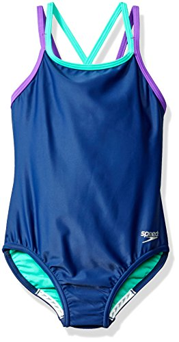 Speedo Girls Crossback One Piece Swimsuit, Size 16, Blue ...