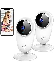 Victure 2 Stück Baby Kamera, 1080P Überwachungskamera WLAN, 2.4 GHz Babyphone mit Bewegungsmelder und Nachtsicht, Zwei Wege Audio