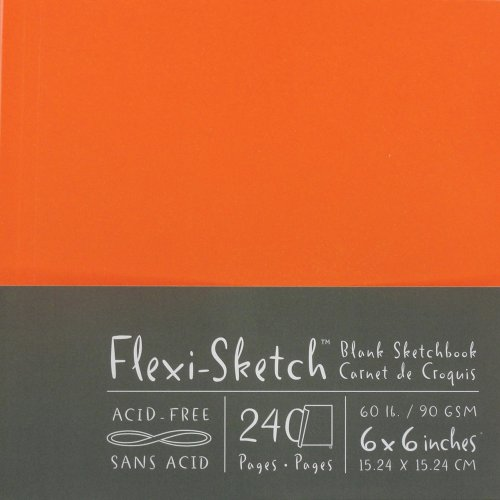 Global Art 6-Inch by 6-Inch Flexi Sketch Soft Cover Blank Sketchbook, Mandarin, 120 Pages- 240 sheets