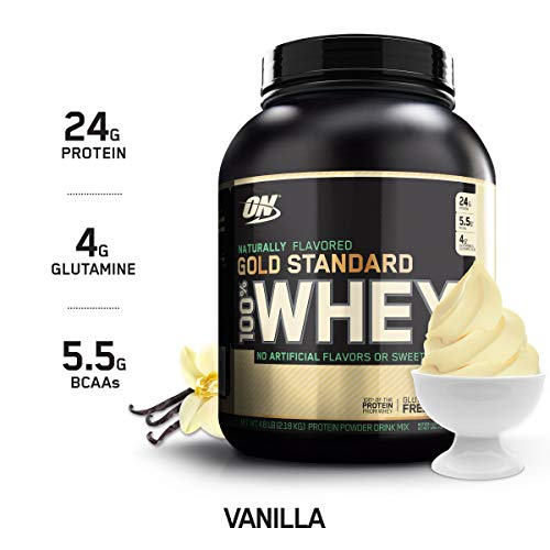 OPTIMUM NUTRITION GOLD STANDARD 100% Whey Protein Powder, Naturally Flavored Vanilla, 4.8 Pound (Gold Standard Whey Protein Before Or After Workout)