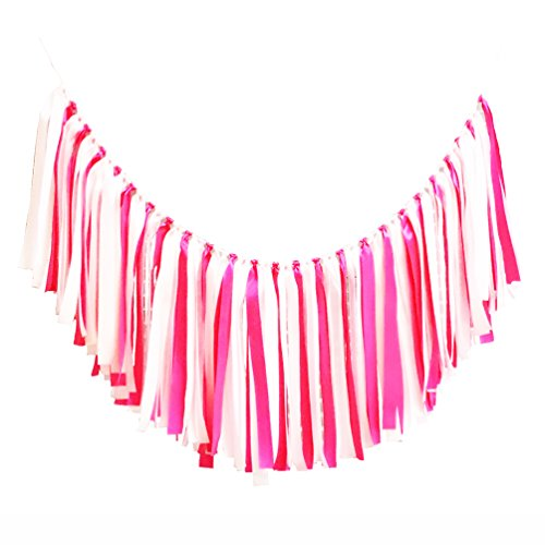 Fabric Tassel Set (AZOWA Assembled Fabric Ribbon Banner Cotton Tassel Garland Bunting Pink for Wedding Bridral Shower Bachelor Party Engagement Decorations Party Supplies Backdrops Photo Props)
