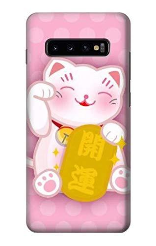 R3025 Pink Maneki Neko Lucky Cat Case Cover for Samsung Galaxy S10 Plus