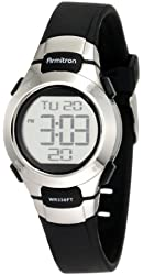 Armitron Sport Women's 457012BLK Chronograph Black Resin Stainless-Steel Accent Strap Watch
