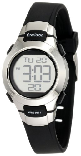 Armitron Sport Women's 457012BLK Chronograph Black Resin Stainless-Steel Accent Strap Watch (Resin Black Strap)