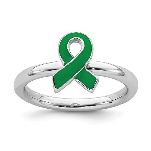 - 925 Sterling Silver Green Enameled Awareness Ribbon Band Ring Size 5.00 Stackable Fine Jewelry Gifts For Women For Her