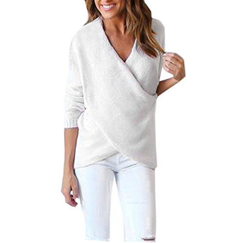 Kinghard Womens V-Neck Cross Loose Knitted Sweater Casual Jumper Tops (White)