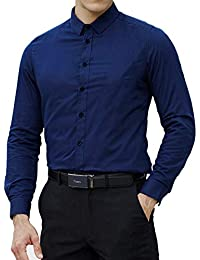 Men's Slim Fit Cotton Easy Care Business Shirt Casual Solid Long Sleeve Button Down Dress Shirts