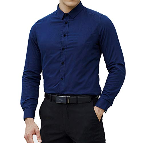 (LOCALMODE Men's Long Sleeve Regular Fit Easy Care Formal Shirt 100% Cotton Business Button Down Dress Shirts Navy Blue X-Large)