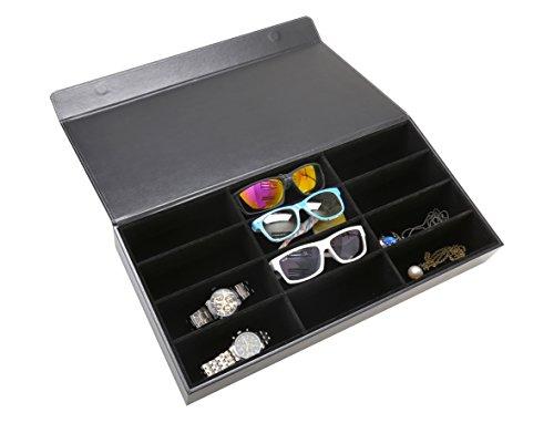 Oalas 12Pcs Eyewear Sunglass Jewelry Watches Display Storage Case Stand(Black)