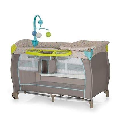 Hauck Babycenter - Cuna de viaje para bebé, incluye elevador para recién nacidos, cambiador, movil, cesta portapañales, ruedas, colchón, bolsa de ...