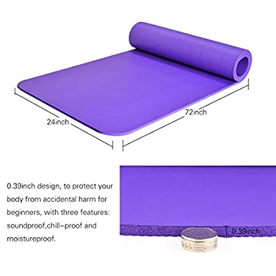 Yoga Mat, iTECHOR Health Exercise Mat Eco-Friendly NBR 0.39IN Thick Comfort Non-Slip Fitness Mat - Purple