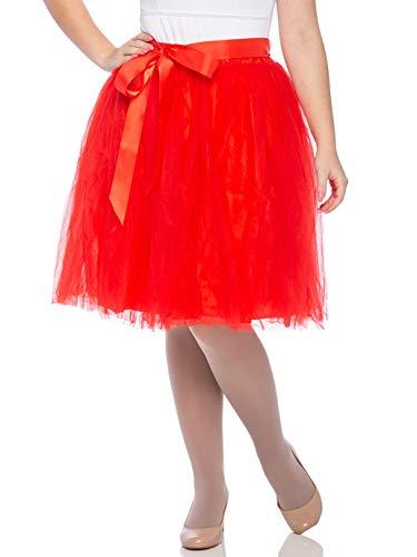 Dancina Women's Knee Length Tutu A Line Layered Tulle Skirt Regular (Size 2-18) Red -