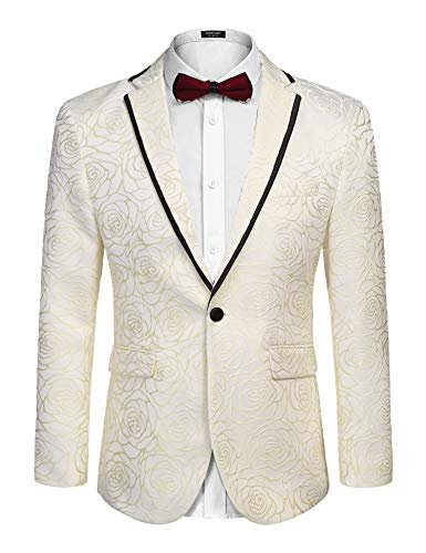 COOFANDY Men's Rose Floral Suit Jacket Blazer Weddings Prom Party Dinner Tuxedo (L, Light Yellow)