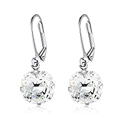 Swarovski Crystal Gemstone Solitaire Dangles Earrings