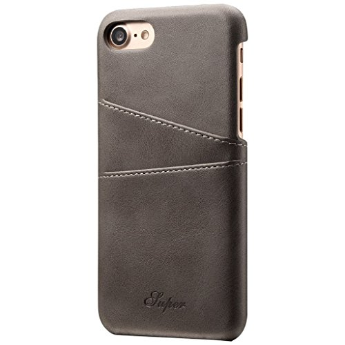 Price comparison product image for Apple iPhone 6 Plus Case iPhone 6s Plus Leather Shell,Premium Synthetic Wallet Case Cover (Grey, Apple iPhone 6 Plus/6s Plus)