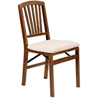 Slat Back Folding Chair in Warm Fruitwood Finish - Set of 2