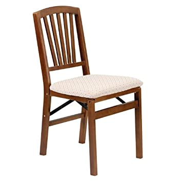Slat Back Folding Chair in Warm Fruitwood Finish – Set of 2