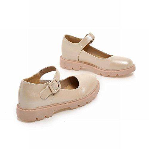 Carolbar Women's Sweet Concise Low Heel Buckle Mary Jane Shoes Beige jw4poyl1